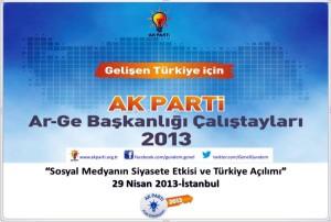 """""""Pour une Turquie qui se développe - les journées d'études de la direction R&D de l'AKP 2013. L'influence des réseaux sociaux sur la politique et l'évolution de la Turquie"""" - Affiche de la journée d'études du 29 avril"""
