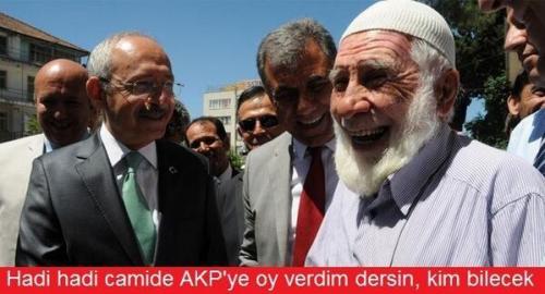 Bon ça va, à la mosquée tu diras que tu as voté AKP, qui le saura ? (Sur la photo, à gauche, Kemal Kılıçdaroğlu, président du CHP)