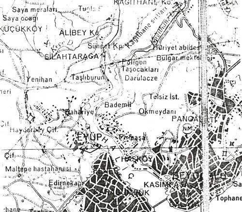 Okmeydanı en 1941 (Extrait d'une carte d'État Major initialement au 1/100 000ème)