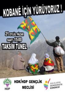 Appel à manifester en soutien à Kobanê le 21 septembre 2014