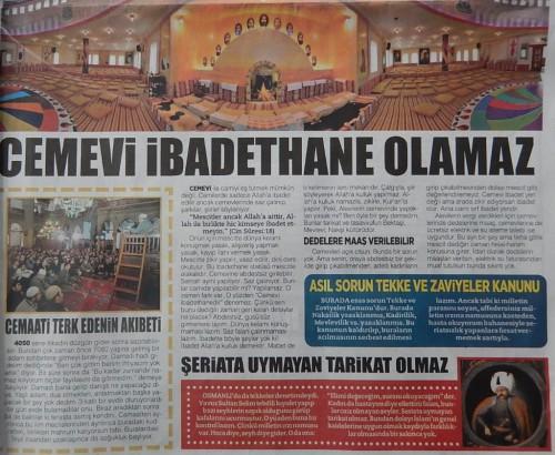 « Les cemevi ne peuvent en aucun cas être des lieux de prière » (rubrique d'Ahmet Hoca, Vahdet, 17/12/2014)