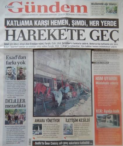 Une de Ö.Gündem du 19 août 2015 : « Face au massacre, sans tarder, dès maintenant, en tout lieu, passe à l'action ! »