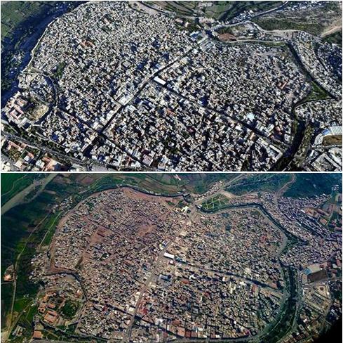 Figure communiquée par la Mairie de Diyarbakır : vues aériennes du centre ville avant et après les combats. On remarque d'importantes destructions dans la partie est du Sur